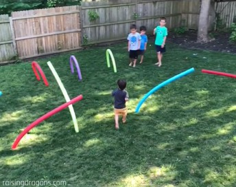 7. Create an obstacle course using various objects around the house