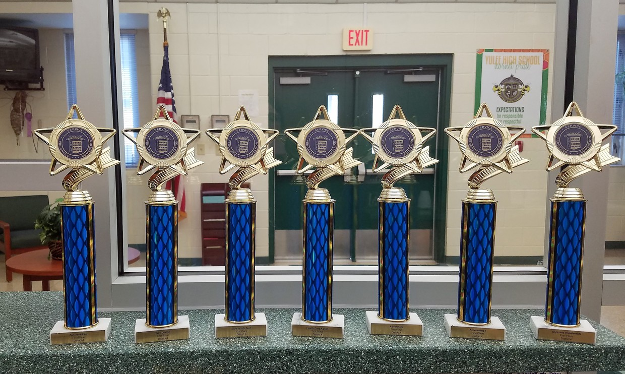 Trophies for Yulee High School students