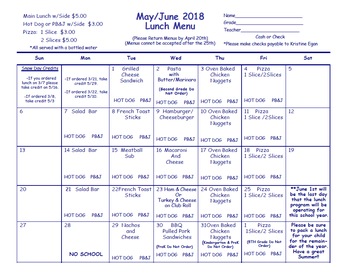 May/June Lunch Menu