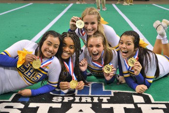 image of happy cheerleaders with 1st-place medals