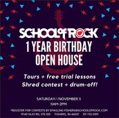 School of Rock Fishers is having a 1 Year Birthday Open House Celebration!