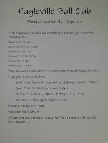 Baseball/Softball Recreation Sign-Ups