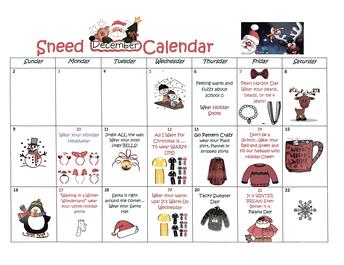 Holiday Dress Up Calendar Starting December 6, 2018