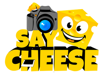 say cheese with camera and yellow smiling cheese head