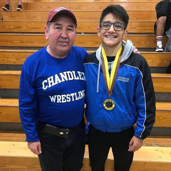 Coach Mejia and Zach Espalin
