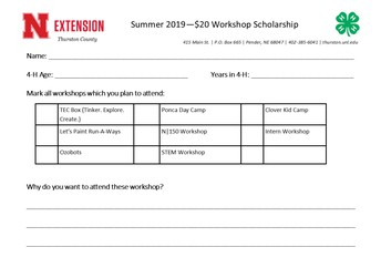 Workshop Scholarships for 4-H Members