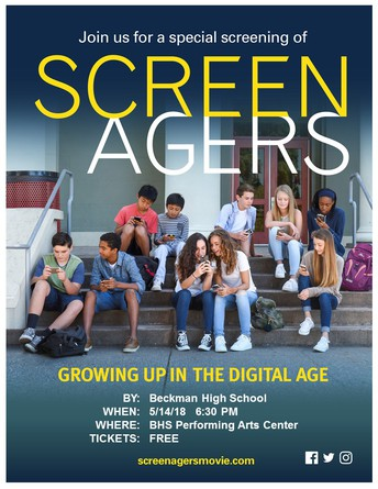 Screenagers Showing at Beckman.  5/14 - 6:30 in the PAC