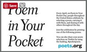 National Poetry Month and Poem in Your Pocket Day!