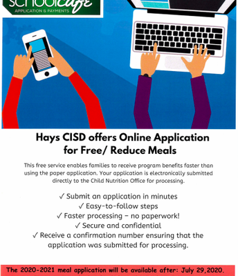 Online Application for Free/Reduced Meals