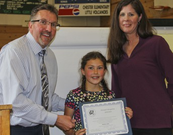 CES recognized an outstanding 5th grader and her family at Wednesday night's school board meeting!