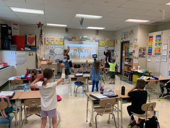 Students in a 2nd Grade Class testing iPads on tripods for virtual students