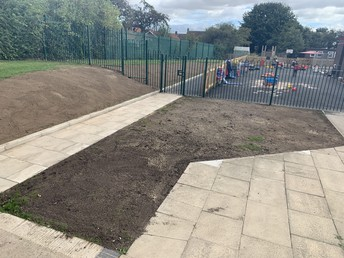 Seeded areas of the school entrance