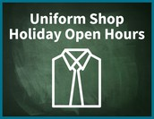 Uniform Shop additional Opening Hours during the 2017/18 Christmas School Holidays: