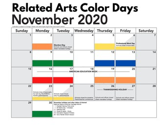 November  Related Arts Schedule