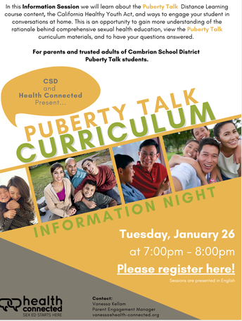 Puberty Talk Information Session for 5th Grade Families