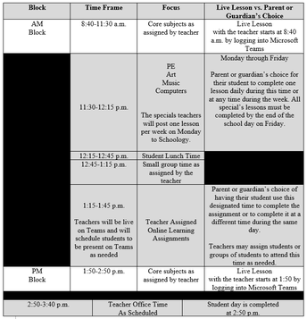 Grades 1-5 Regular Schedule