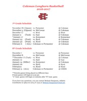 BCMS Longhorn Basketball Schedule