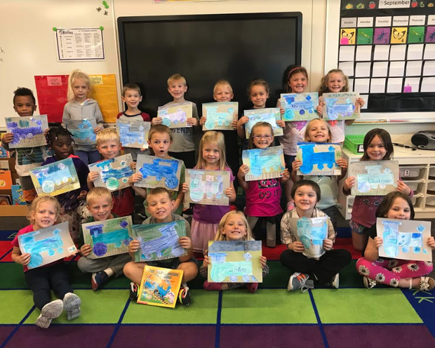 Mrs. Rydberg's class read the story, The Little Blue Engine by Watty Piper. Then during math time, students used different shapes to create their own little blue engines.