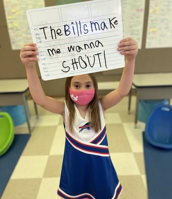 Student in Bills attire