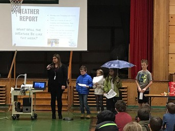 Ms. Geer's class prepping us with a weather update on the storms ahead!