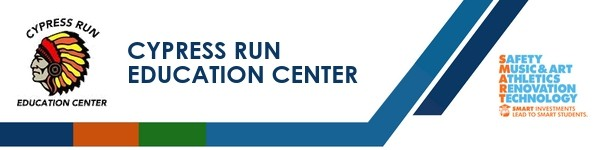 A graphic banner that shows Cypress Run Education Center's name and SMART logo