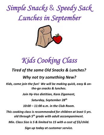 September Kids Cooking Class