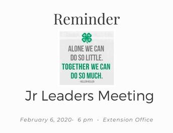 Jr. Leaders next meeting