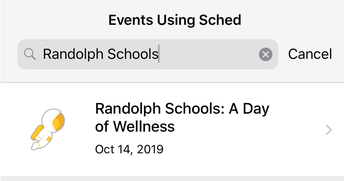 When prompted to search for your event, type Randolph Schools and click on our event!