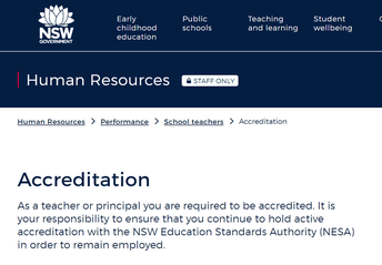 DoE Intranet: Teacher Accreditation