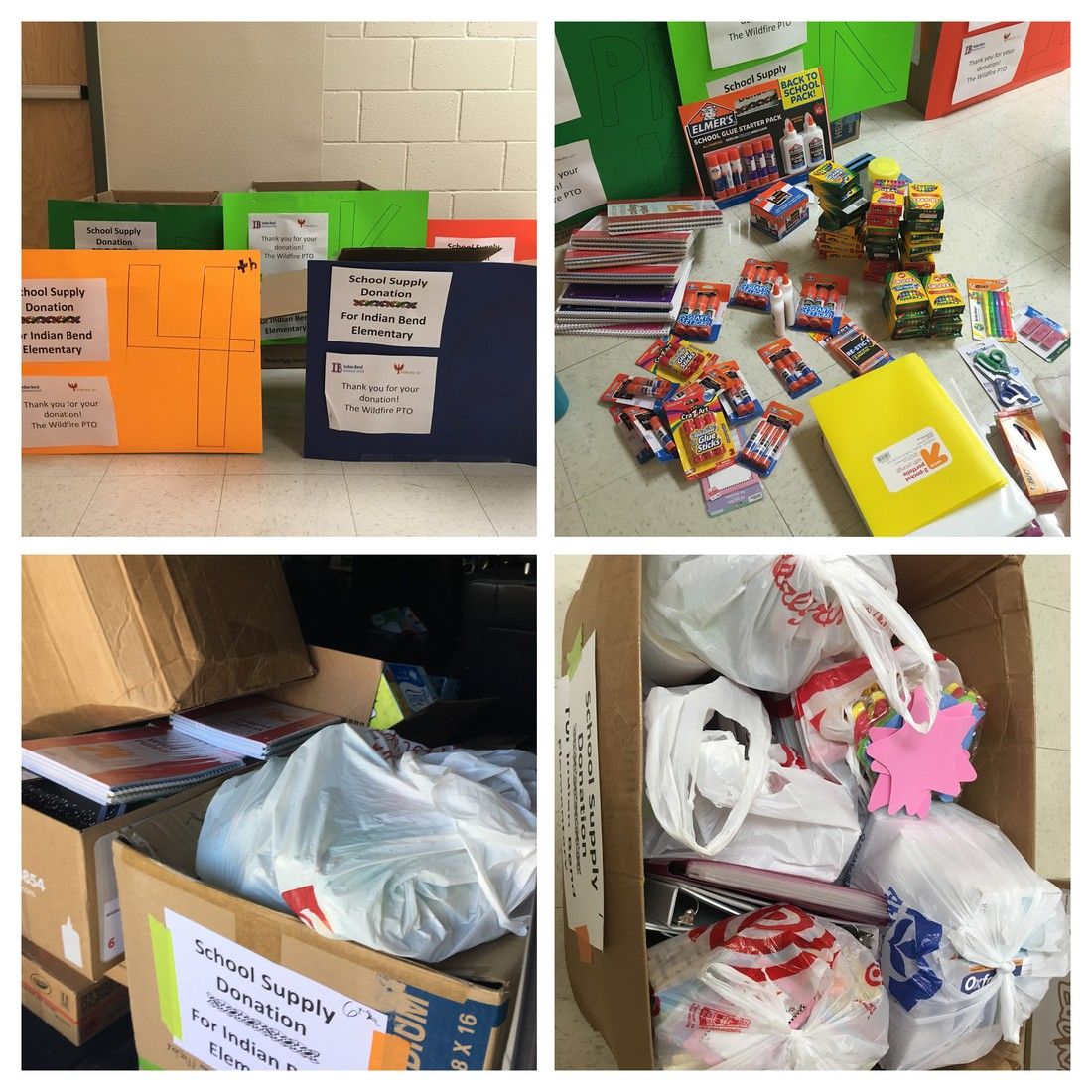 collage of pictures of school supply donations to Indian Bend Elementary School