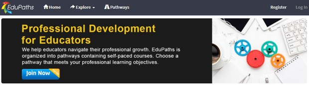 EduPaths Login page states Professional Development for Educators