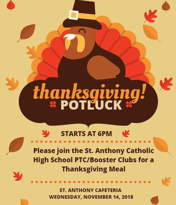 Thanksgiving Potluck Dinner Sponsored by PTC/Booster Club
