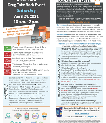 Flier: Drug Take Back Saturday April 24 from 10 am to 2 pm