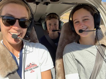 Students Flying with Aviation Director, Kate Short