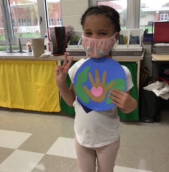 Student with Earth Day project