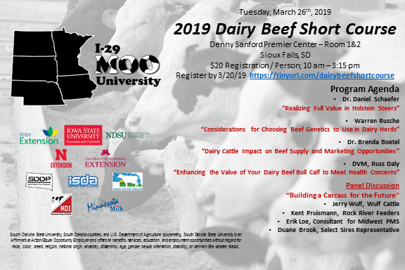 Postcard of details of upcoming I-29 Moo University Dairy Beef Short Course with program details.