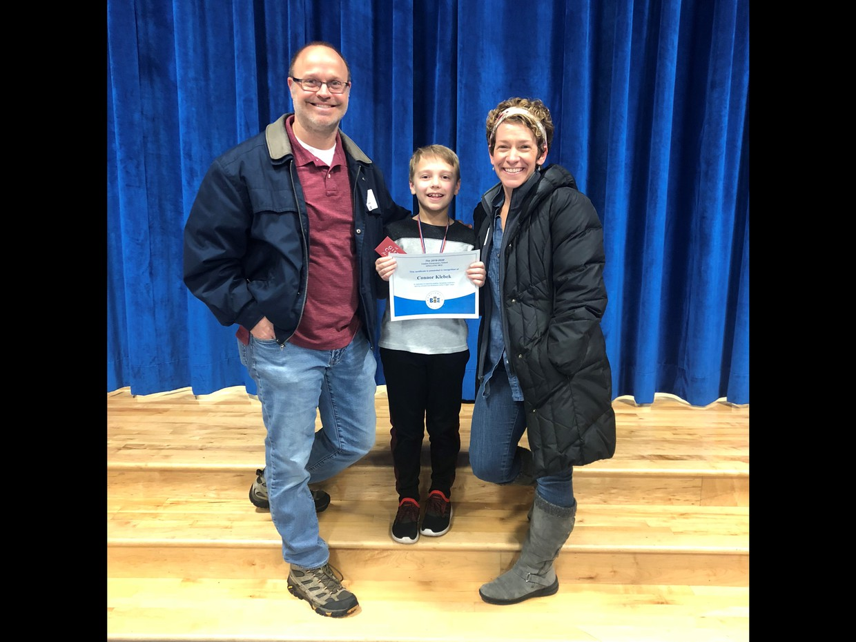 Linden's Spelling Bee Champion, Connor Klebek and his parents