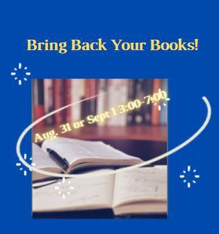 Bring Back Your Books - Sophomores, Juniors and Seniors