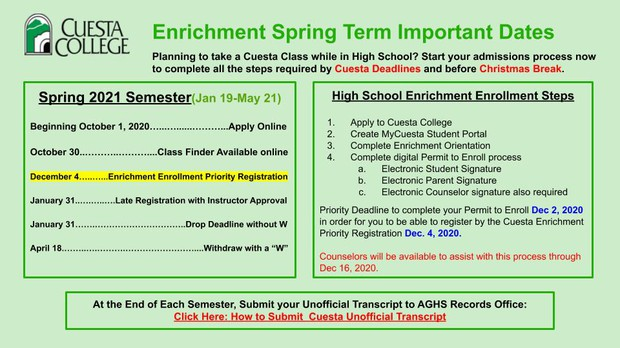 Apply for Cuesta Enrichment Courses