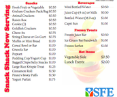 Snack Menu Prices