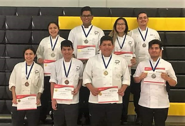 Mt. Diablo HS student culinary student winners include from left to right, rear row: Laura Vega, Junior, 2nd Place in Appetizers; Carlos Trejo, Junior, 2nd Place in Patisserie; My Nhi Tran, Junior, 1st Place in Appetizers; and Seth Stigall, Senior, 2nd Place in Culinary Arts. From left to right, front row: Karla Loza-Romo, Junior, and Julio Juarez, Junior, 3rd Place in Culinary Arts; Miguel Pacheco, Junior, 1st Place in Advanced Presentation; and Aaron Aldava, Senior, 2nd Place in Culinary Arts.