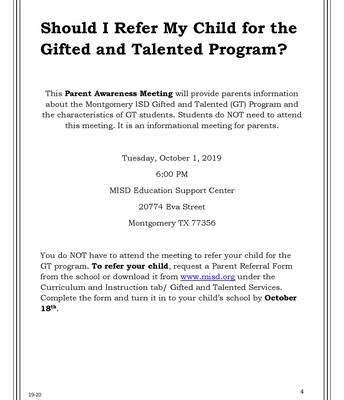 GT Parent Awareness