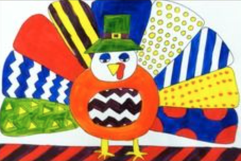 Directed Draw: Pop Art Turkey in the style of Romero Britto