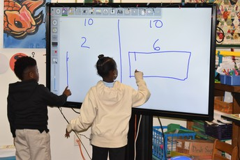 students doing a math exercise using their classroom Recordex