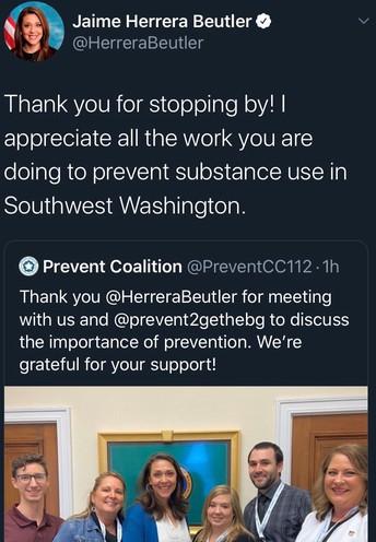 Rep. Jaime Herrera Beutler thanks Prevent for attending a meeting in Washington DC on Twitter.
