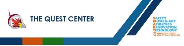A graphic banner that shows The Quest Center name and SMART logo
