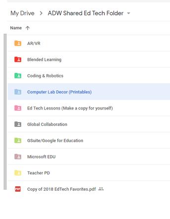ADW Shared Ed Tech Resources Google Folder for Technology Teachers