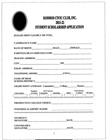 Kosmos Civic Club Scholarship