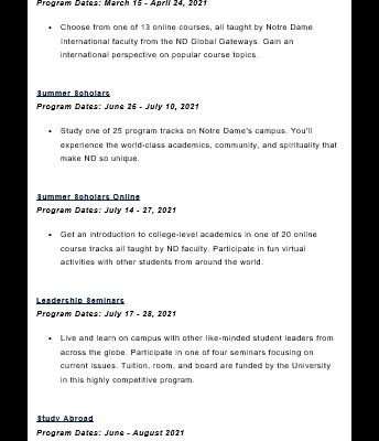 Pre-College Programs - Notre Dame
