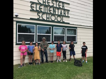 Mr. John Crotty/Almanor Fishing Association donating fishing poles to CES - pictured with excited 5th graders!  Thank you!